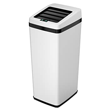 ITouchless Sliding Lid Automatic Touchless Sensor Trash Can U2013 14 Gallon /  52 Liter U2013 White