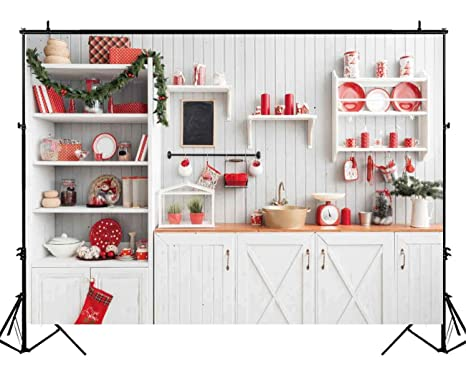 Funnytree 7x5ft Christmas Modern Kitchen Photography Backdrop Retro Wood Wall Cook Background Indoor Photobooth Decorations Photo Studio Newborn Baby