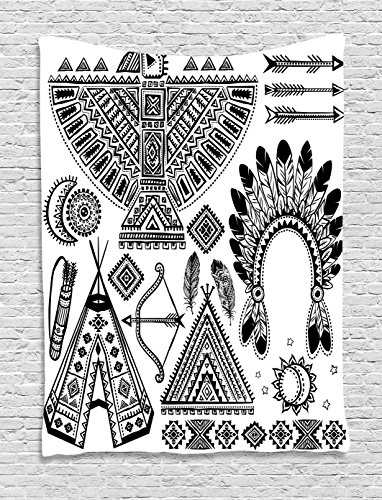 Head Art Tap (Ambesonne Tribal Tapestry, Native American Feather Head Band Ethnic Teepee Tent Bow Arrow Art Print, Wall Hanging Bedroom Living Room Dorm, 40 W X 60 L inches, Black White)