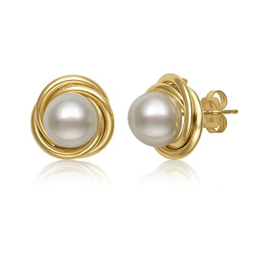 daeb037a0d9a7 14k Yellow Gold Cultured Freshwater Pearl Love Knot Stud Earrings