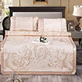 Zhiyuan Folding Non-Slip Jacquard Peony Little Flower Silky Synthetic Rattan Mattress Top Mat & Pillowcases Set Summer Night, Light Gold, King
