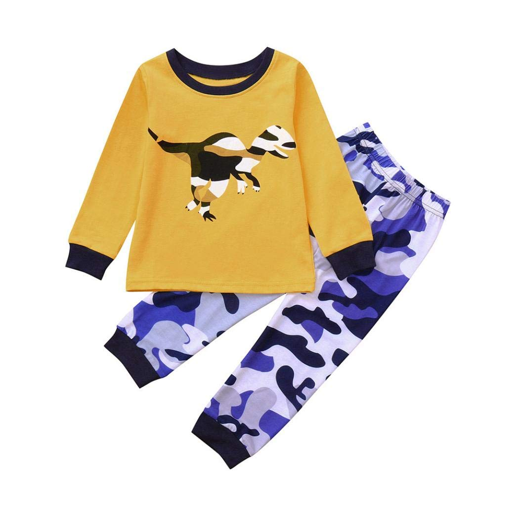 GoodLock Clearance!! Baby Boys Clothes Set Toddler Kids Dinosaur Print Long Sleeves Top+Pants Outfit 2Pcs (Yellow, 5T)