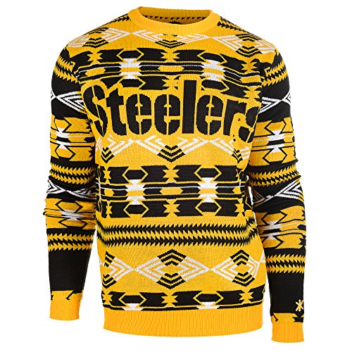 NFL Football 2015 Aztec Ugly Crew Neck Holiday Sweater - Pick Team (Pittsburgh Steelers, XL)