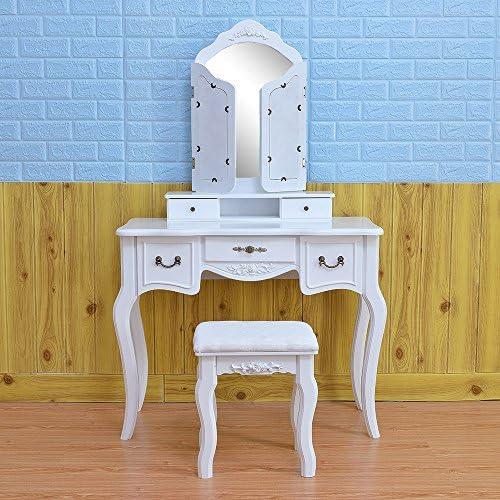 Tri-fold Mirror Makeup Dressing Vanity Table Set Writing Desk Makeup Tool Organizer Storange with 4 Drawers Cushioned Stool Girls Women for Reading Makeup White Alger Max