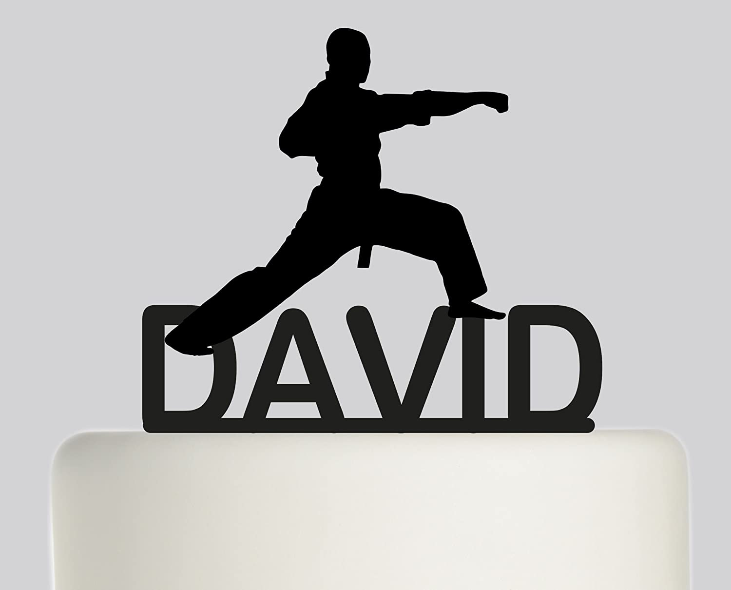 Large Birthday Cake topper Martial Arts, Judo, Karate, Taekwondo, Ju-Jitsu Personalised with YOUR NAME. Ideal birthday cake decoration, birthday party Acrylic cake topper, Available in Gold Mirror, Gold Sparkle, Silver Mirror, Silver Sparkle, Bronze Mirror