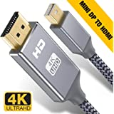 Capshi Mini DisplayPort to HDMI Cable - 6Ft Thunderbolt to HDTV Cord Mini DP to HDMI Chord 4K MiniDP to HDMI Wires Nylon Braided 1080P Compatible Mac Air/Pro,iMac Surface Pro/Dock, Monitor, Projector