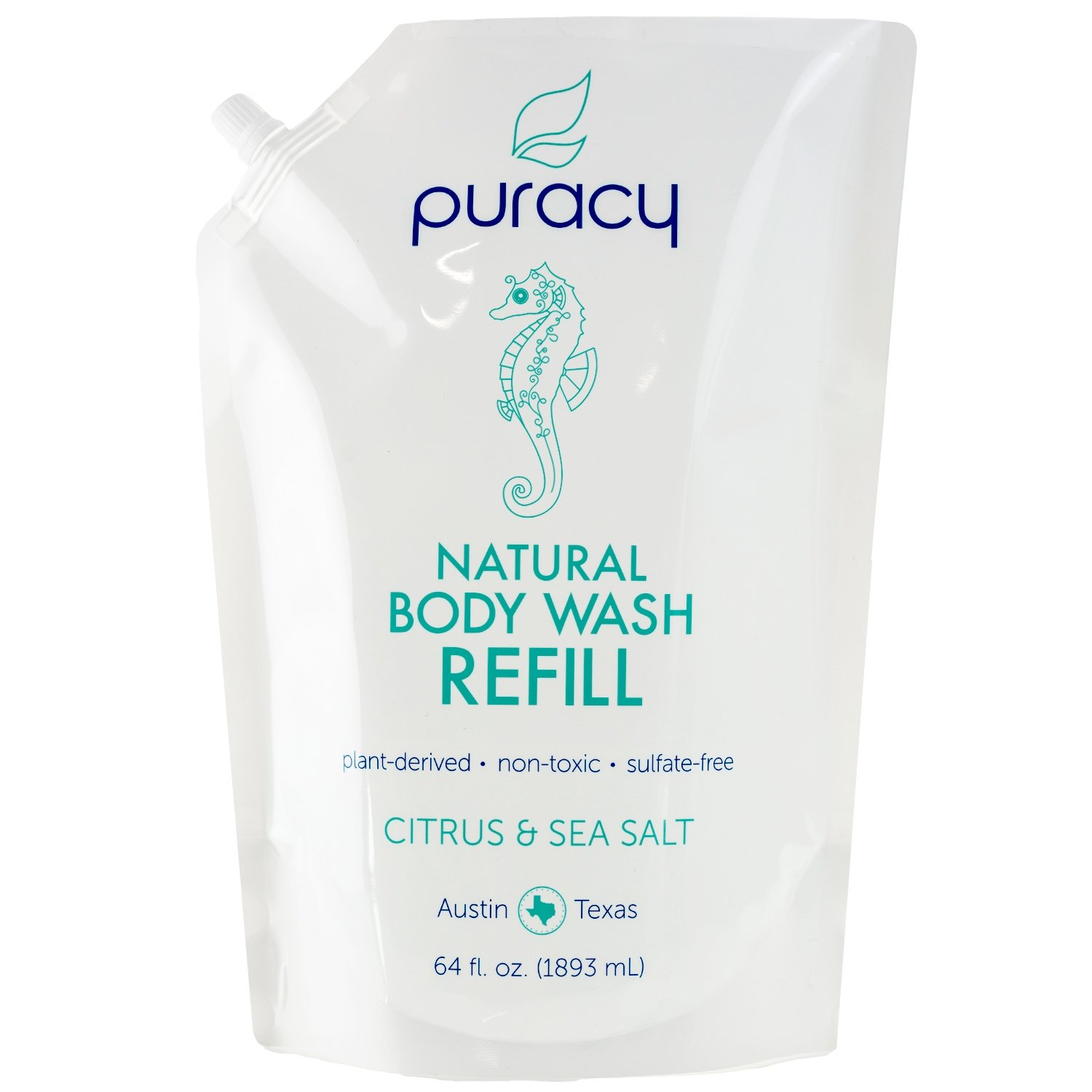 Puracy Natural Body Wash Refill, Sulfate-Free Shower Gel Daily Cleanser, Citrus & Sea Salt, 64 Ounce