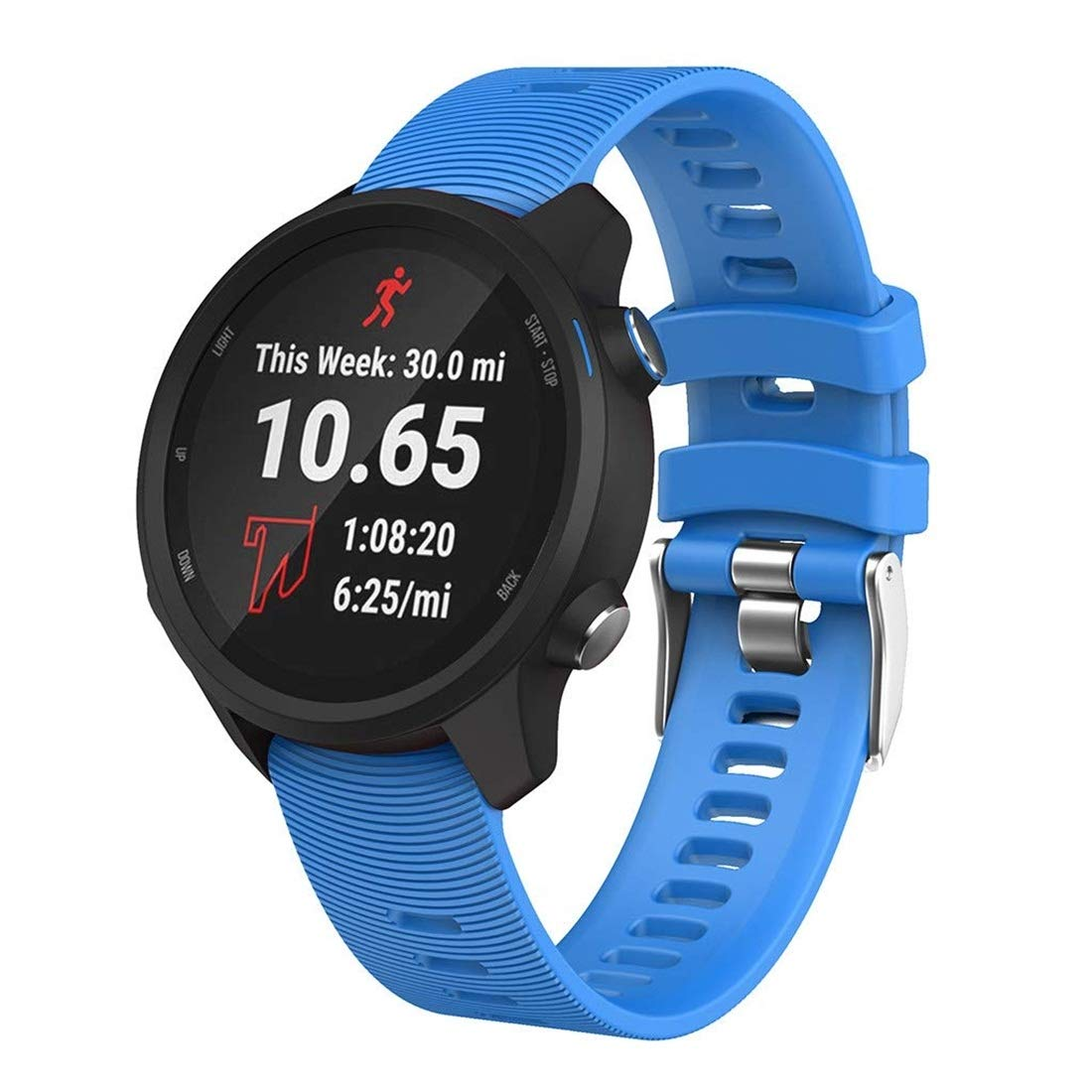 Smart Watch Silicone Wrist Strap Watchband for Garmin Forerunner 245 Premium Quality (Color : Sky Blue) by GuiPing
