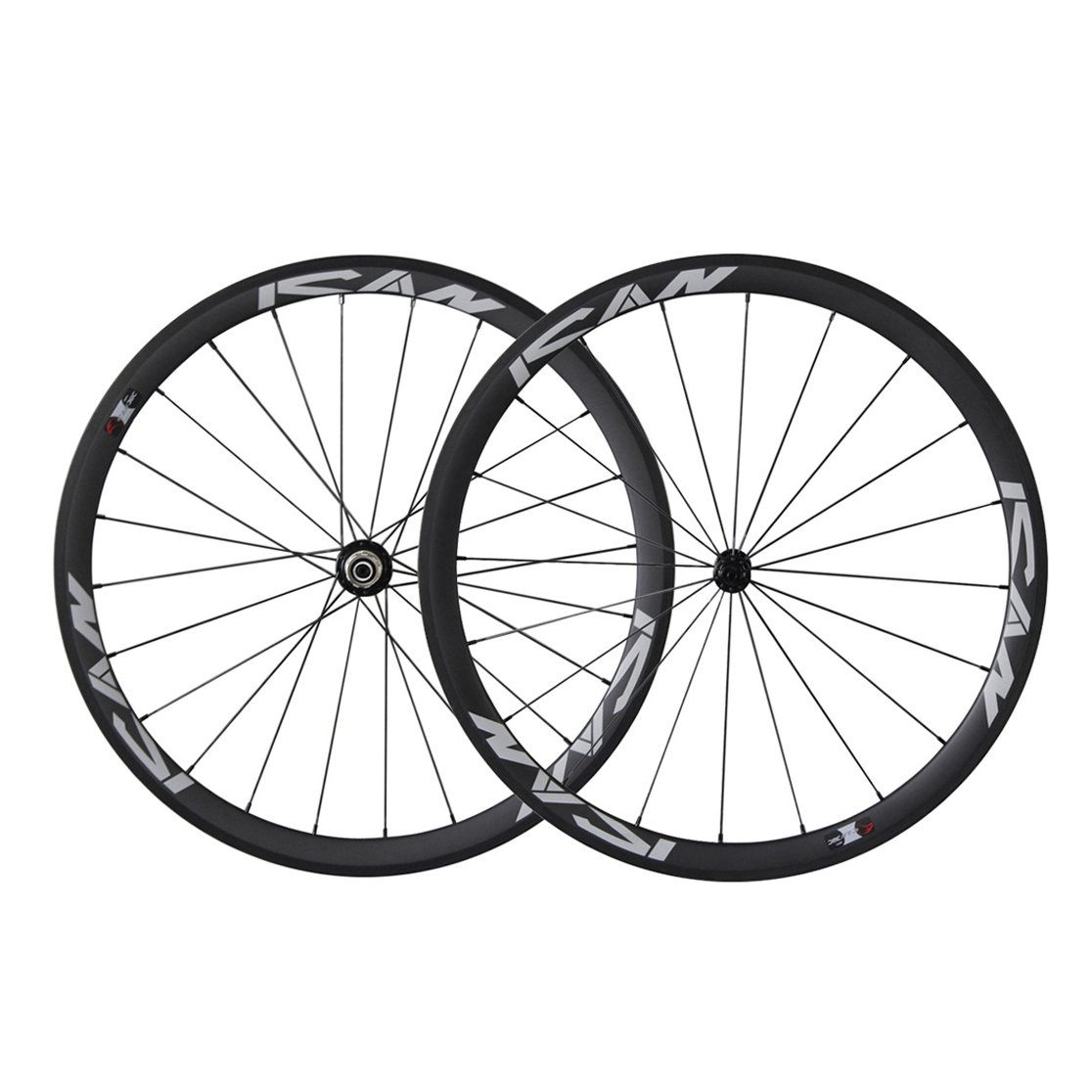 ICAN 700C Lightweight Road Bike Carbon Wheelset Clincher 38mm Basalt Brake Surface Rim Shimano or Sram 10/11 Speed 1420g (Classic Wheelset)