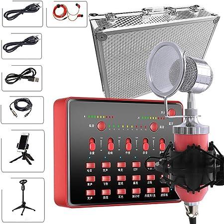 MMFXUE Tarjeta de Sonido en Vivo, Tarjetas de Sonido en Vivo para grabación de música portátil Tarjeta de Sonido en Vivo para computadora del teléfono móvil para transmisión: Amazon.es: Hogar