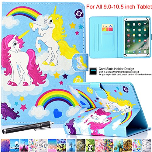 -10.5 Inch Tablet, Newshine PU Leather Stand Folio Case for New iPad 9.7 2017/2018, Galaxy Tab S2/S3 9.7, Amazon Kindle Fire HD 10 and Other 9.7 10.1 10.5 Models - Rainbow Unicorn ()