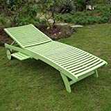 Cheap International Caravan TT-SL-032-MGN-IC Furniture Piece Acacia Chaise Lounge with Pull Out Tray with Mint Green Finish