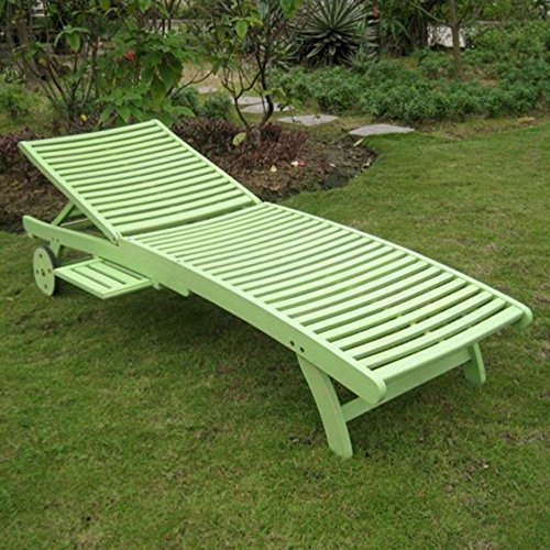 International Caravan TT-SL-032-MGN-IC Furniture Piece Acacia Chaise Lounge with Pull Out Tray with Mint Green Finish