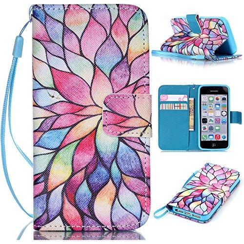 6 Plus case,iPhone 6 Plus Case,Colorful Floral Pattern Wristlet Slim PU Leather Case Wallet w/ Magnetic Closure Case for iPhone 6 Plus