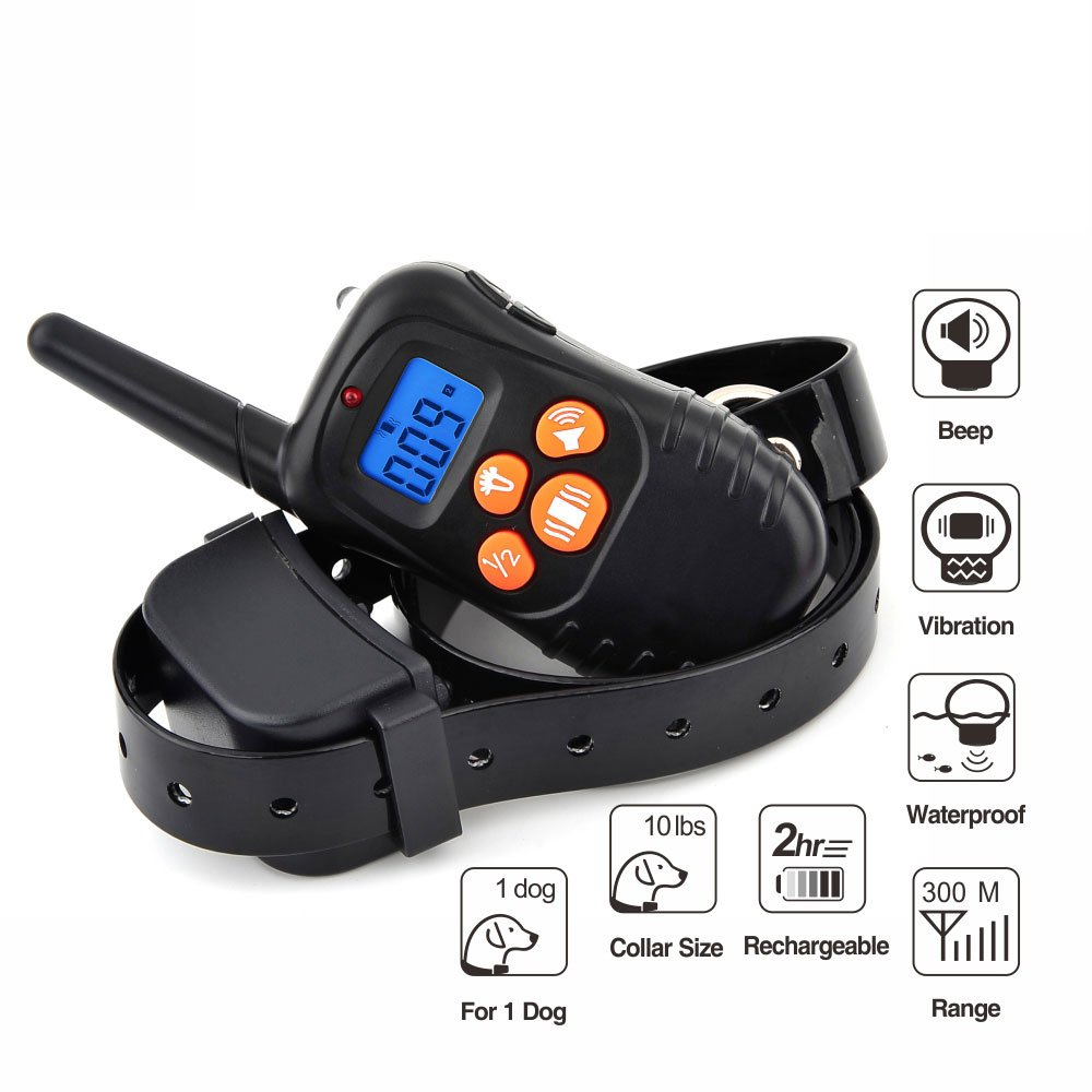 Black Waterproof and Rechargeable Dog Shock Collar,330 Yd Remote Electric Pet No Barking Collar with Beep Vibrating Shock