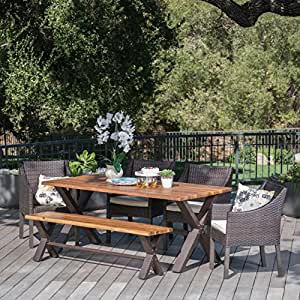 Helen Outdoor 6 Piece Teak Finished Acacia Wood Dining Set with Multibrown Wicker Dining Chairs with Beige Water Resistant Cushions