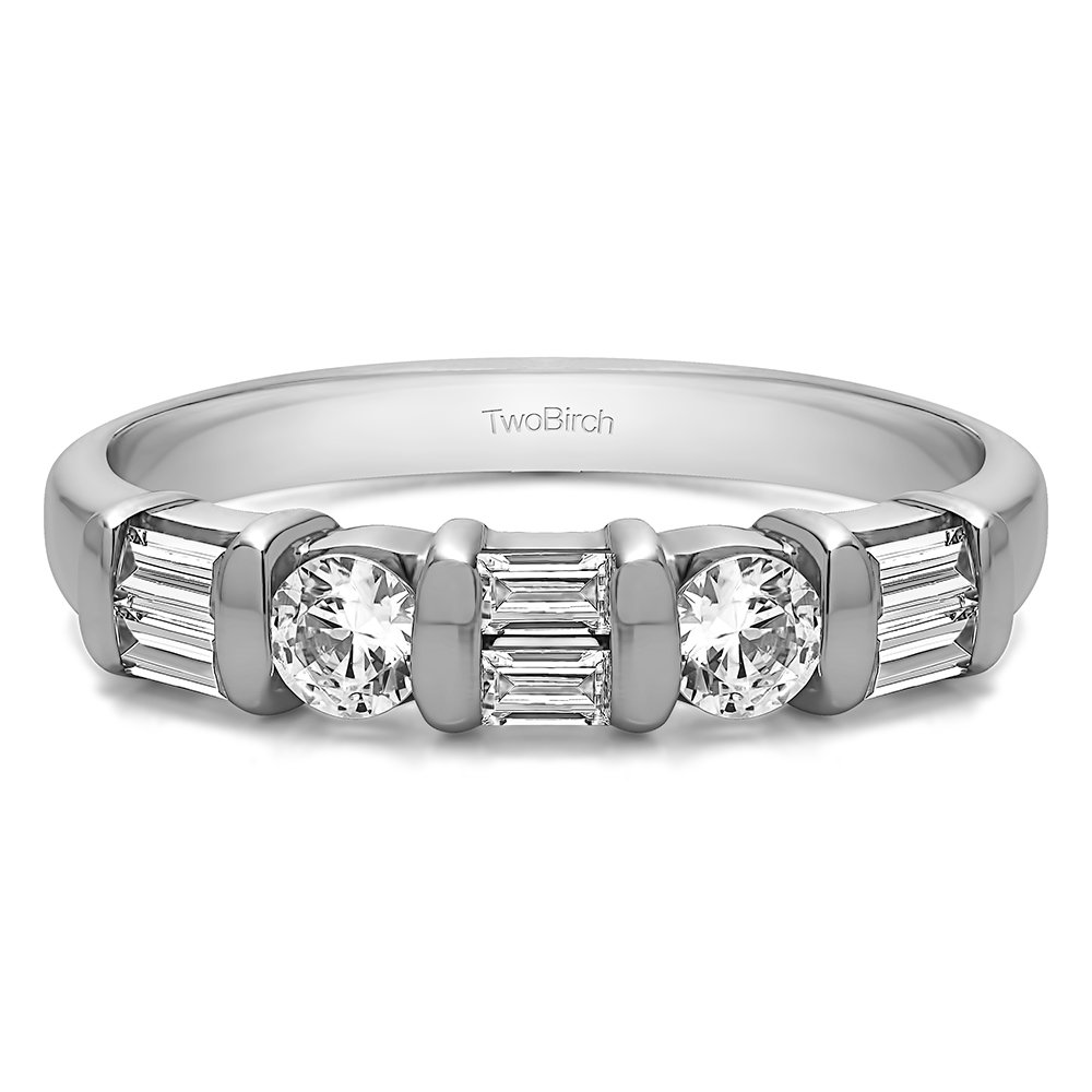 TwoBirch 1Ct Baguette and Round Bar Set Wedding Ring in Sterling Silver CZ Size 3 to 15 in 1//4 Size Intervals