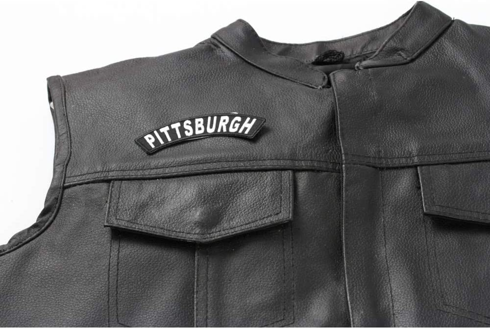 Pittsburgh White on Black Small Rocker Iron on Patches for Biker Vest Jacket