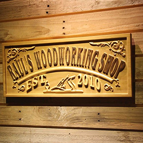 Personalized Sign Shop - ADVPRO wpa0356 Name Personalized Woodworking Wood Shop Decoration Wood Engraved Wooden Sign - Standard 23
