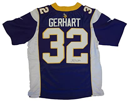 Toby Gerhart Autographed Minnesota Vikings Jersey WPROOF Picture of