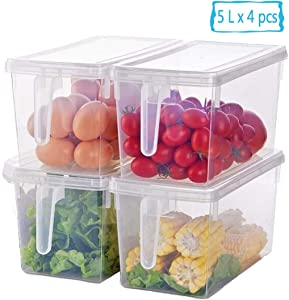 Kitchen Organizer Fridge Freezer Storage - 4 Sets Stackable Plastic Boxes Reusable Containers To Keep Fresh for Produce, Fruits, Vegetables, Meat and Fish