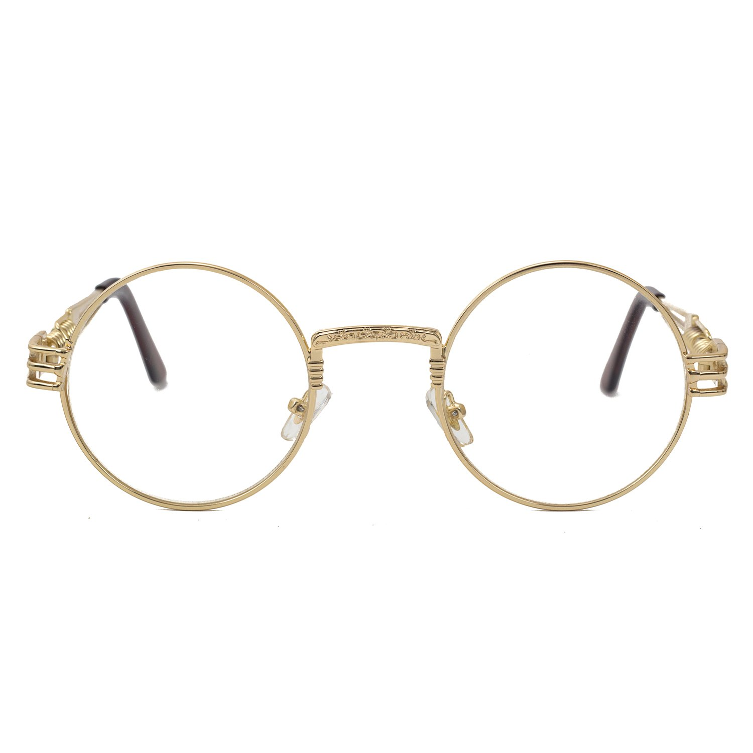 Pro Acme John Lennon Metal Spring Frame Round Steampunk Clear Lens Glasses (Gold Frame/Clear Lens) by Pro Acme (Image #3)