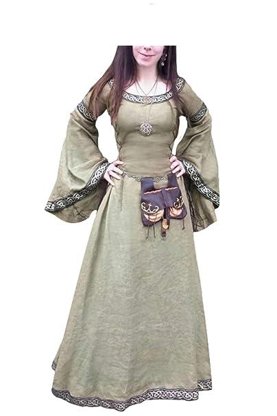 lancoszp Vestido Maxi Manga Larga Cuello Redondo de Mujer Medieval Traje de Cintura Vintage Victoriano Vendaje Recoger: Amazon.es: Ropa y accesorios