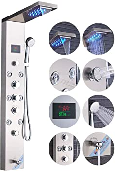 Rozin Bathroom Rainfall Waterfall Shower Panel Set Massage System Tub Faucet with Jets /& Hand Shower Brushed Nickel