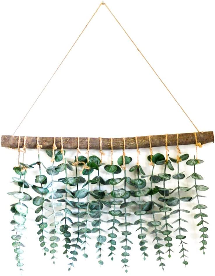 LokoVynes Artificial Eucalyptus Wall Decor - Wall Hanging Eucalyptus Greenery Gives Any Room a Natural, Trendy, Modern Feel - Boho Bedroom Decorations, Wedding Decorations, Kitchen Decorations