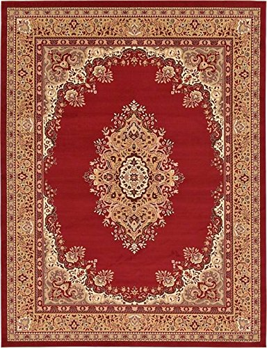 Unique Loom Mashad Collection Burgundy 9 x 12 Area Rug (9' x 12')