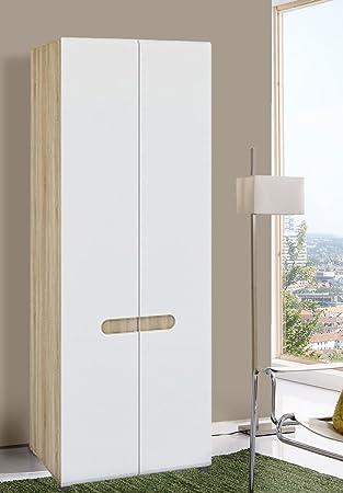 Kleiderschrank weiß hochglanz 2 türig  Unbekannt Kleiderschrank Garderobenschrank 2-türig 6535 sonoma eiche ...