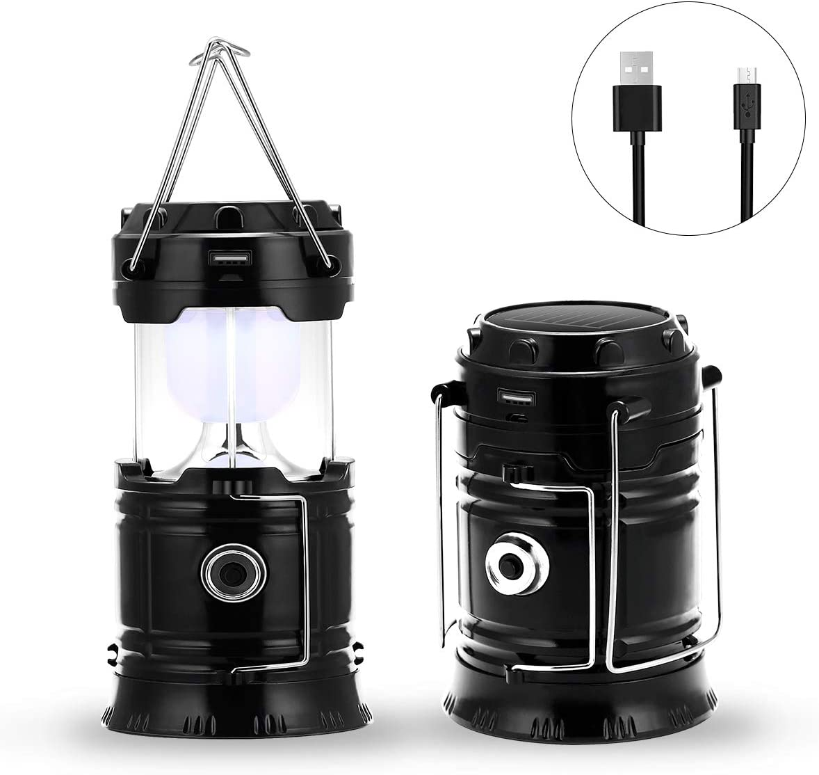Fishing LED Portable Flashlight Suitable for Outdoor Hiking Fulighture Solar Camping Lantern Water Resistant Ultra Bright Collapsible 2 Pack Black Outages Camping USB Charging Emergencies