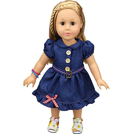 a3a1a5cc697 Amazon.com  Kimanli Doll Dress 18 Inch Denim Button Skirt Clothes for  American Girls Doll Xmas Gift (Navy)  Clothing
