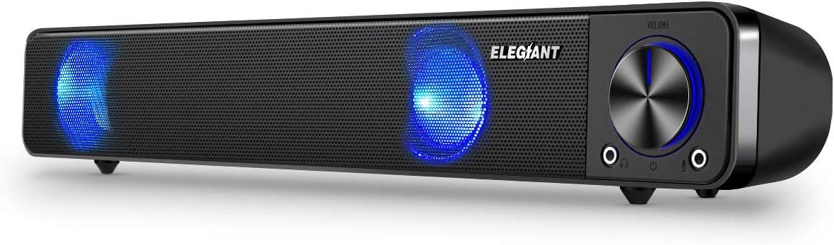 ELEGIANT Wired Computer Sound Bar