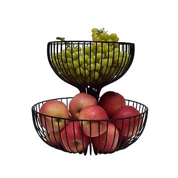Hlcui Doppel Top Obstkorb Arbeitsplatte Stand Metall Antik