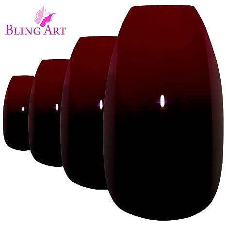 Bling Art Uñas Postizas Rojo Negro Glossy Bailarina 24 Ataúd Longe Falsas puntas acrílicas con pegamento