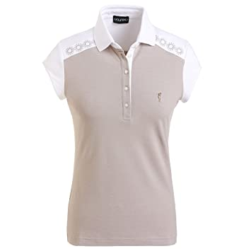 457b76b41b5790 GOLFINO Ladies  golf polo shirt with sun protection and classy embroidery  in slim fit Beige