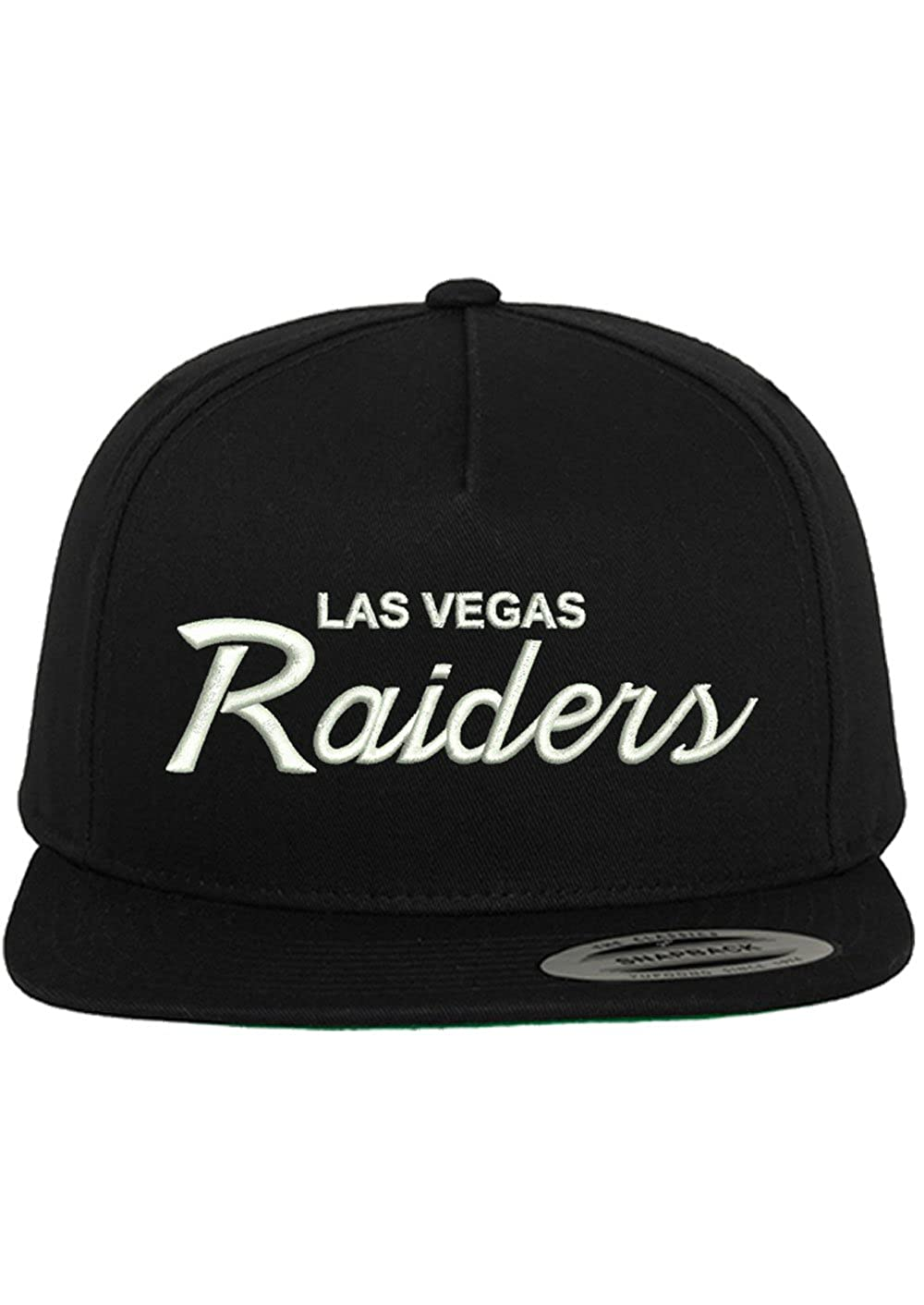 CUSTOM Las Vegas Raiders Embroidered Script Snapback Hat Cap - Black