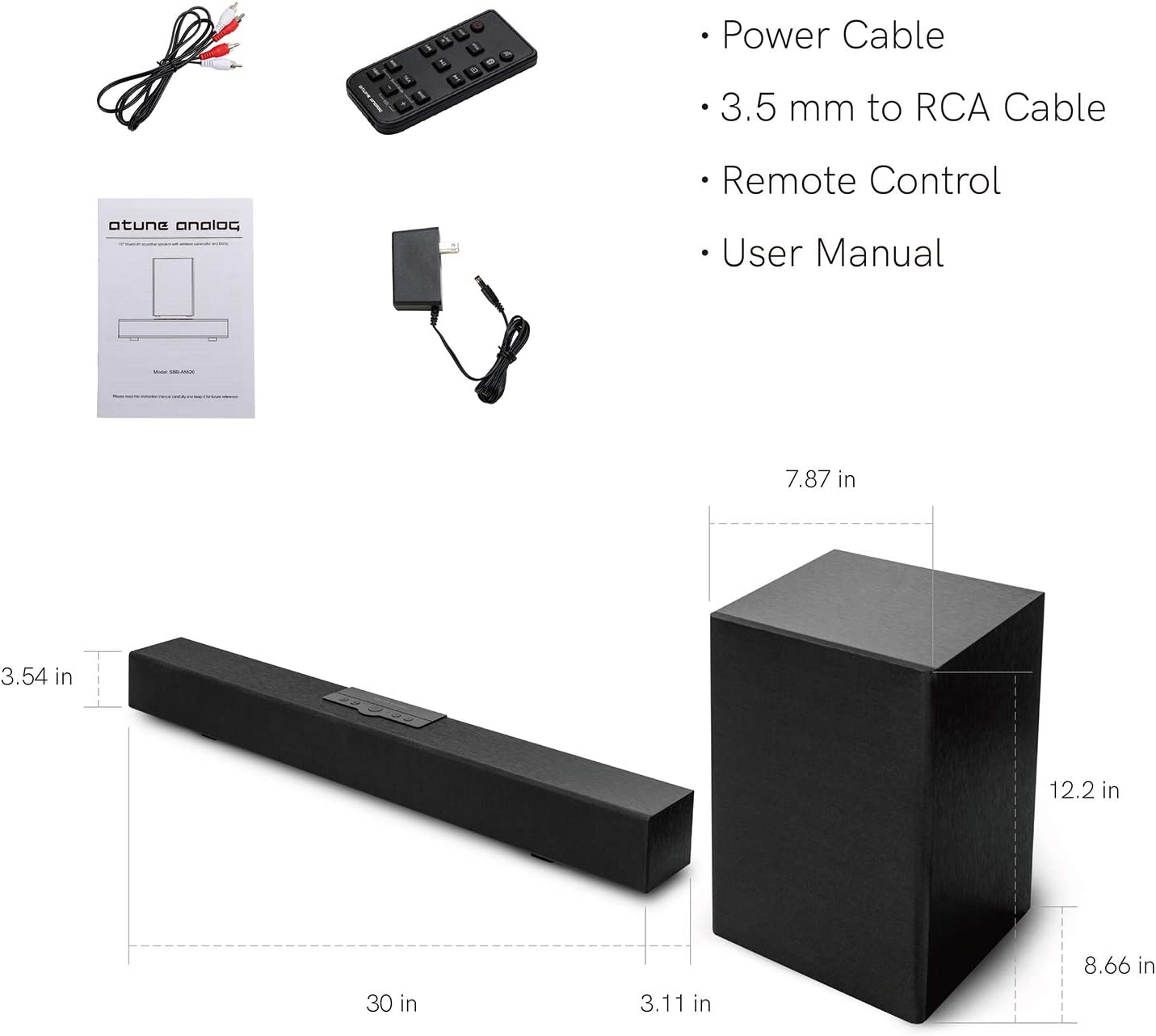 atune analog Soundbar Build-in 5.0 Bluetooth with Wireless ...