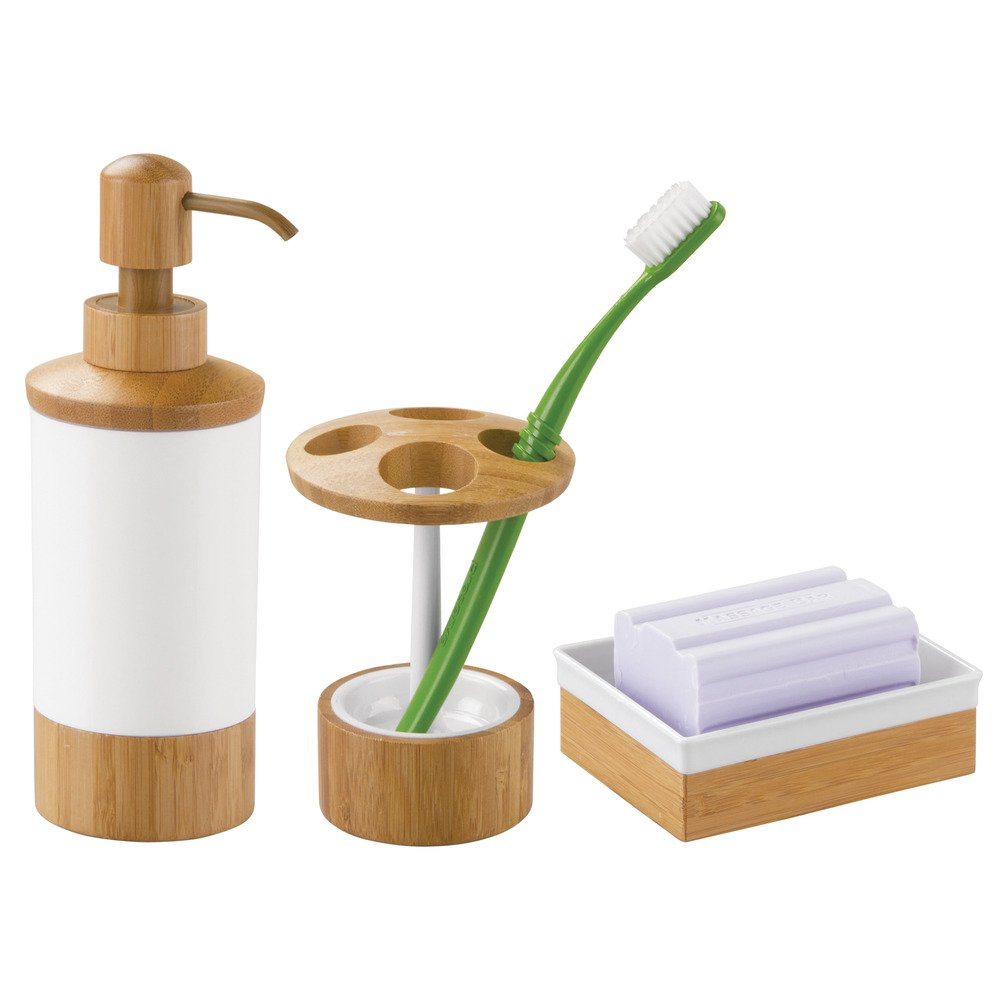 Jabonera en un look natural bamb/ú//pl/ástico blanco InterDesign Formbu Jabonera inoxidable Accesorios para ba/ños en madera
