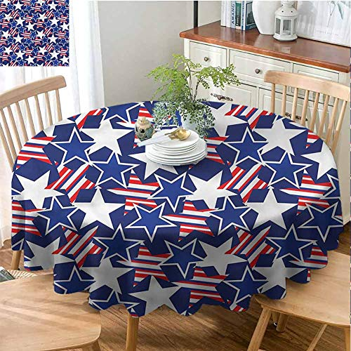 G Idle Sky 4th of July Elegance Engineered Tablecloth Stars and Stripes Waterproof/Oil-Proof/Spill-Proof Tabletop Protector D51