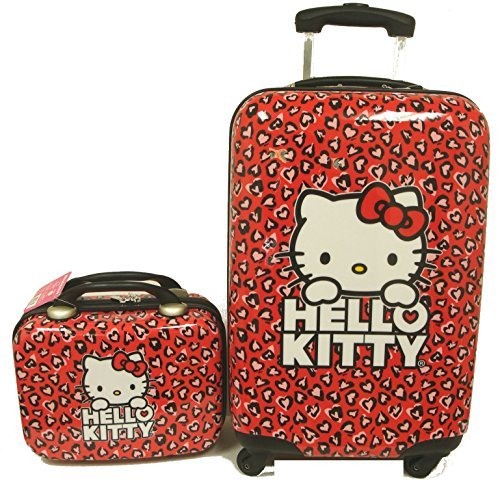 "Hello Kitty Animal Print 20"" Red ABS Luggage and Matching Cosmetic Case 2pcs Set"