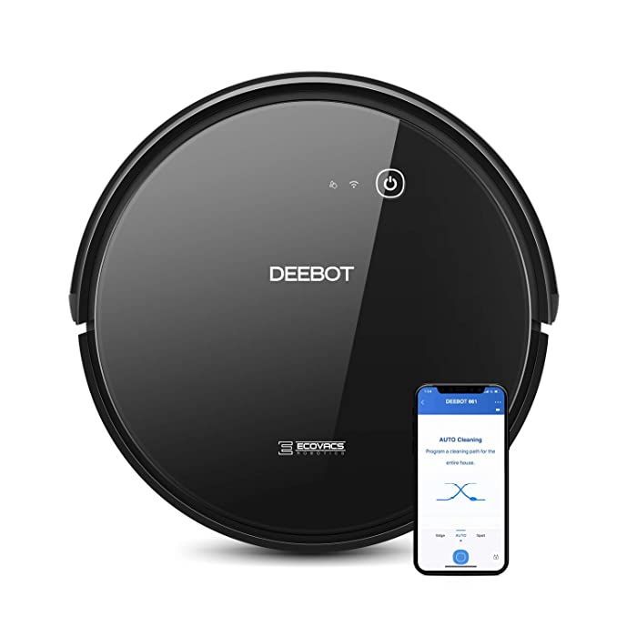 ECOVACS DEEBOT 661 Convertible Vacuuming or Mopping Robotic Vacuum Cleaner with Max Power Suction, Up to 110 min Runtime, Hard Floors & Carpets, App Controls, Self-Charging, Quiet