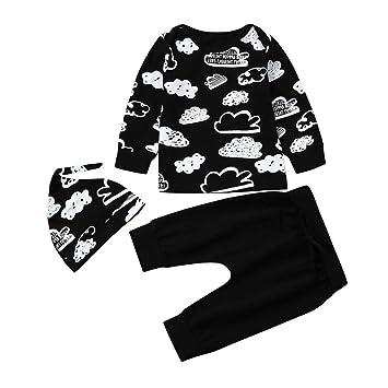 5f519eabb5419 Amazon.com  3PC Newborn Baby Girl Boy Cloud Print T Shirt Tops+Pants+ Hat Outfits  Clothes Set (age 12-18month