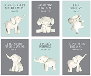 Andaz Press Christian Bible Verses Quotes Nursery Kids Bedroom Unframed Hanging Wall Art Poster Decor, 8.5x11-inch, Elephants, Mint Green, I Am a Child of God, 6-Pack, No Frames