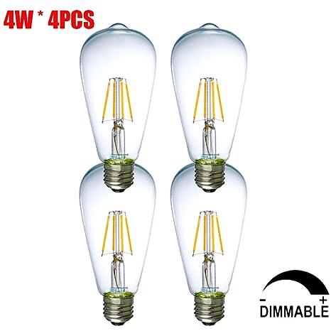 Bombilla LED ST64, 4W E27 El ahorro de energía Bombillas Regulables, Bombilla decorativa,