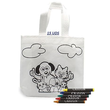 LOTE 15 Bolsas infantiles para colorear, cada una incluye 5 ceras de ...