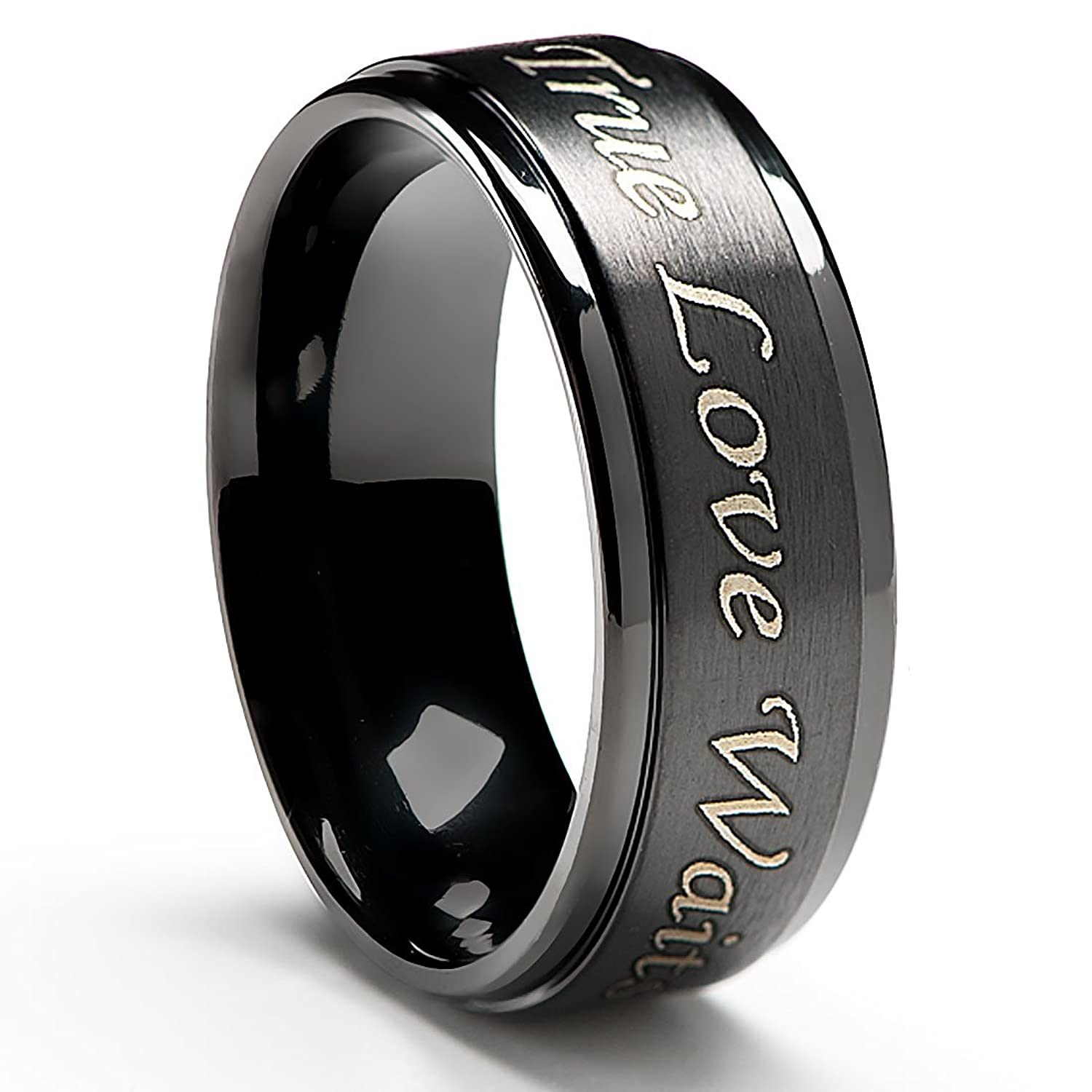 zoom wedding band center raised mens ring black carbide w tungsten bands loading