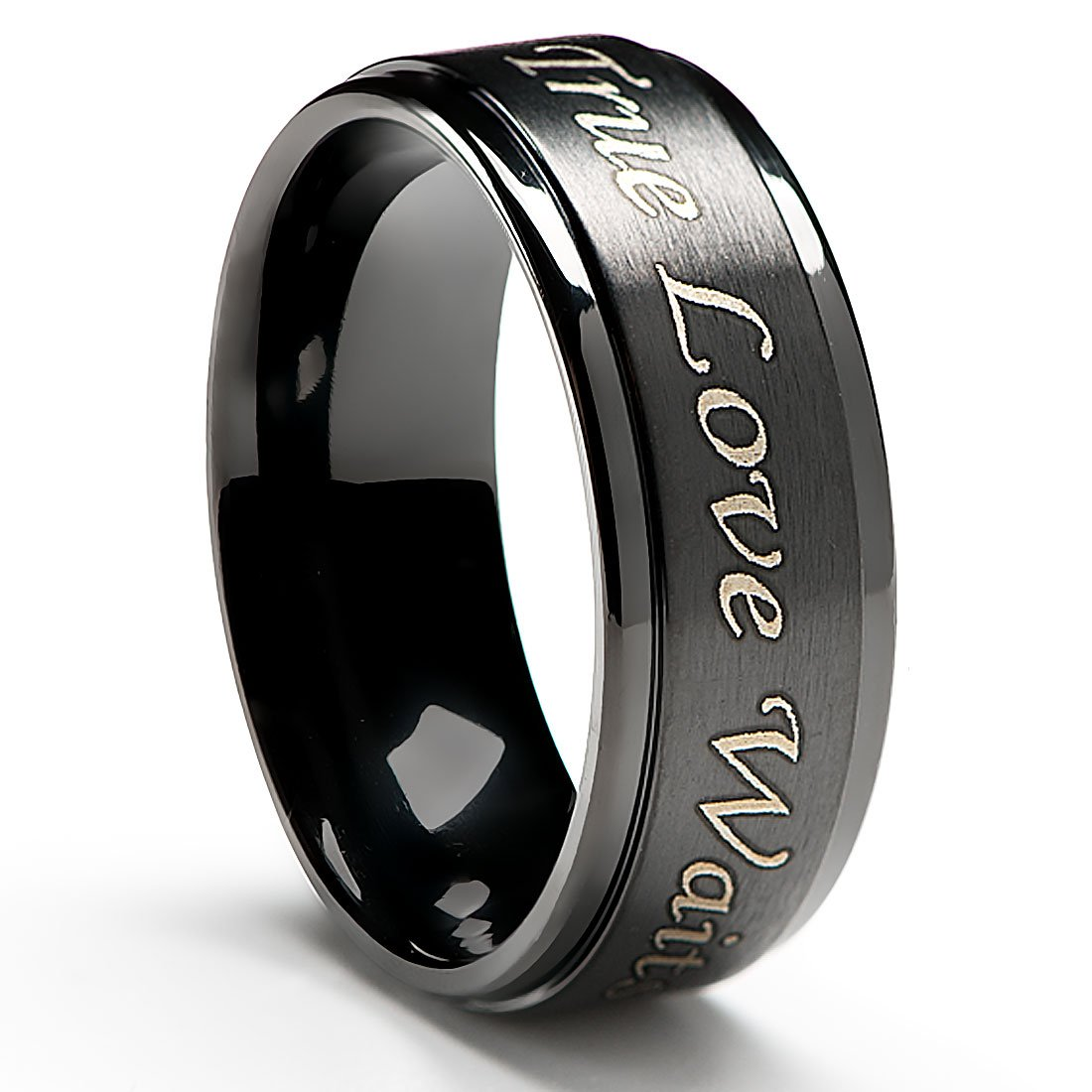 Cavalier Jewelers Purity Ring - True Love Waits - Black Plated Titanium Band (8mm wide) - Men's & Women's Sizes [Size 8]