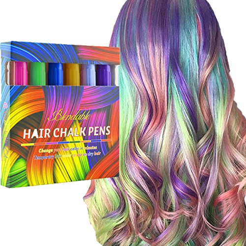 Yellow Hairspray (Kyerivs Hair Chalk Hair Pastels 6 Color Metallic Glitter Temporary Hair Color, No Mess, Built in Sealant, Works on All Hair Colors)